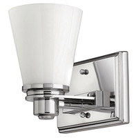 Avon 1 Light 7 inch Chrome Bath Sconce Wall Light in Incandescent, Cased Opal