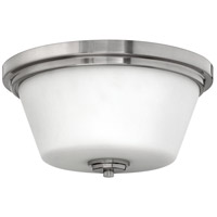 Hinkley 5551BN Signature 2 Light 15 inch Brushed Nickel Bath Flush Mount Ceiling Light, Avon