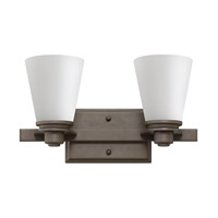 Hinkley 5552KZ-GU24 Avon 2 Light 15 inch Buckeye Bronze Bath Vanity Wall Light in Etched Opal, GU24, Etched Opal Glass