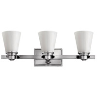 Hinkley 5553CM Avon 3 Light 23 inch Chrome Bath Vanity Wall Light in Etched Opal, Incandescent