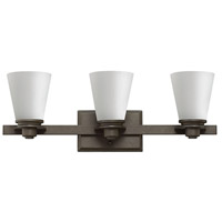 Hinkley 5553KZ Avon 3 Light 23 inch Buckeye Bronze Bath Vanity Wall Light in Etched Opal, Incandescent, Etched Opal Glass