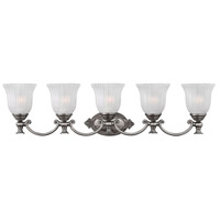 Hinkley 5585PL Francoise 5 Light 37 inch Polished Antique Nickel Bath Light Wall Light, globe only is 5 x 6 w