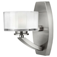 Meridian LED 5 inch Brushed Nickel Bath Sconce Wall Light, Thick Faceted Clear Inside Etched Glass