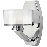 Meridian LED 5 inch Chrome Bath Sconce Wall Light, Thick Faceted Clear Inside Etched Glass