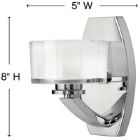 Hinkley 5590CM Meridian 1 Light 7 inch Chrome Bath Sconce Wall Light in Halogen alternative photo thumbnail
