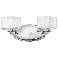 Hinkley 5592CM Meridian 2 Light 14 inch Chrome Bath Light Wall Light in Clear Inside Etched, G9