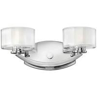 Hinkley 5592CM Meridian 2 Light 14 inch Chrome Bath Light Wall Light in G9