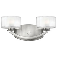Meridian 2 Light 14 inch Brushed Nickel Bath Vanity Wall Light in Thick Faceted Clear Inside Etched, LED, Thick Faceted Clear Inside Etched Glass