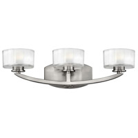 Hinkley Lighting Meridian 3 Light Bath Vanity in Brushed Nickel with Thick Faceted Clear Inside Etched Glass 5593BN-LED