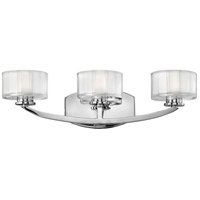Hinkley 5593CM-LED Meridian 3 Light 21 inch Chrome Bath Vanity Wall Light in Thick Faceted Clear Inside Etched, LED, Thick Faceted Clear Inside Etched Glass