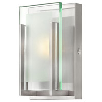 Latitude 1 Light 5 inch Brushed Nickel Bath Wall Light in LED, Clear/Etched Glass