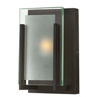 Hinkley 5650OZ Latitude 1 Light 5 inch Oil Rubbed Bronze Bath Sconce Wall Light, Clear Beveled Inside-Etched Glass