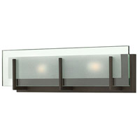 Hinkley 5652OZ Latitude 2 Light 18 inch Oil Rubbed Bronze Bath Light Wall Light, Clear Beveled Inside-Etched Glass