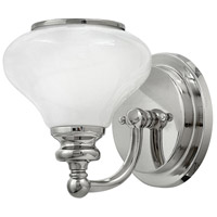Hinkley 56550PN Ainsley 1 Light 6 inch Polished Nickel Bath Sconce Wall Light, Cased Opal Glass