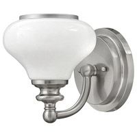 Ainsley 1 Light 6 inch Brushed Nickel Bath Vanity Wall Light, Cased Opal Glass