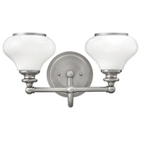 Hinkley 56552BN Ainsley 2 Light 16 inch Brushed Nickel Bath Light Wall Light, Cased Opal Glass