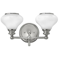 Hinkley 56552PN Ainsley 2 Light 16 inch Polished Nickel Bath Light Wall Light, Cased Opal Glass