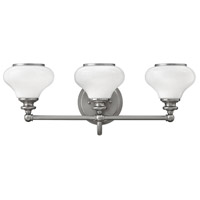 Hinkley 56553BN Ainsley 3 Light 24 inch Brushed Nickel Bath Light Wall Light, Cased Opal Glass