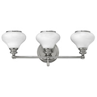 Hinkley 56553PN Ainsley 3 Light 24 inch Polished Nickel Bath Light Wall Light, Cased Opal Glass