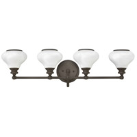 Ainsley 4 Light 33 inch Buckeye Bronze Bath Wall Light, Cased Opal Glass