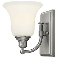 Colette 1 Light 6 inch Brushed Nickel Bath Wall Light, White Etched Glass