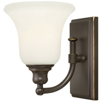 Hinkley 58780OZ Colette 1 Light 6 inch Oil Rubbed Bronze Bath Wall Light, White Etched Glass