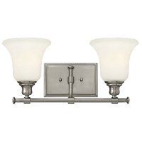 Colette 2 Light 17 inch Brushed Nickel Bath Light Wall Light, White Etched Glass