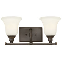 Hinkley 58782OZ Colette 2 Light 17 inch Oil Rubbed Bronze Bath Wall Light, White Etched Glass