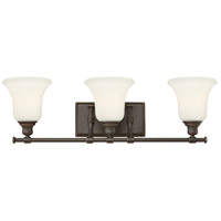 Colette 3 Light 26 inch Oil Rubbed Bronze Bath Wall Light, White Etched Glass