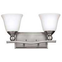 Bolla 2 Light 16 inch Brushed Nickel Bath Light Wall Light in Incandescent, Etched Opal