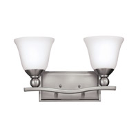 Bolla 2 Light 16 inch Brushed Nickel Bath Vanity Wall Light in LED, Etched Opal, Etched Opal Glass