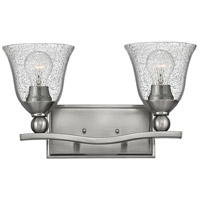 Bolla 2 Light 16 inch Brushed Nickel Bath Vanity Wall Light, Clear Seedy Glass