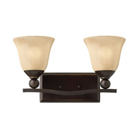Bolla 2 Light 16 inch Olde Bronze Bath Vanity Wall Light in Light Amber Seedy, GU24, Light Amber Seedy Glass
