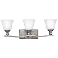 Bolla 3 Light 26 inch Brushed Nickel Bath Vanity Wall Light in LED, Etched Opal, Etched Opal Glass