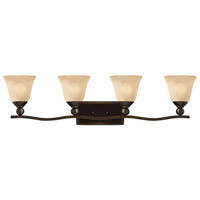 Bolla 4 Light 36 inch Olde Bronze Bath Vanity Wall Light in Amber Seedy, Incandescent