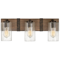 Hinkley 5943SQ Sawyer 3 Light 22 inch Sequoia with Iron Rust Accents Bath Light Wall Light