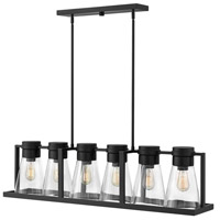 Refinery 6 Light 44 inch Black Linear Chandelier Ceiling Light in Clear
