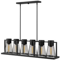 Refinery 6 Light 44 inch Black Linear Chandelier Ceiling Light in Smoked