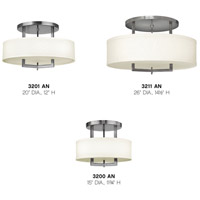 Hinkley 3200AN Hampton 3 Light 15 inch Antique Nickel Foyer Semi-Flush Mount Ceiling Light in Soft Linen Hardback Shade, Incandescent alternative photo thumbnail