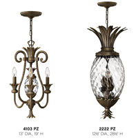 Hinkley 2222PZ Plantation 4 Light 13 inch Pearl Bronze Foyer Pendant Ceiling Light alternative photo thumbnail