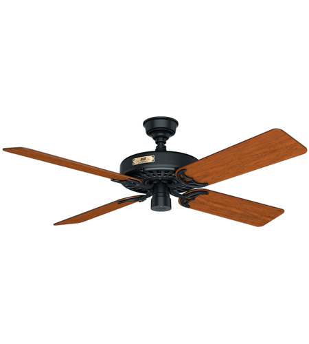 Hunter Fan 23838 Original 52 inch Black with Walnut/Cherry Blades Outdoor Ceiling Fan photo thumbnail