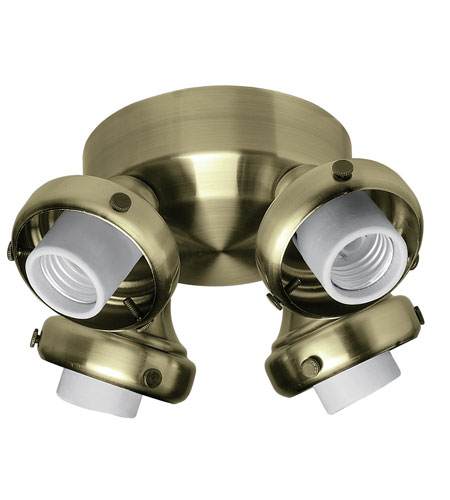 Hunter Fans Four Light Fitter With Integrated Switch Housing 4 Light Fan Light Kit in Antique Brass (no glass) 28652 photo