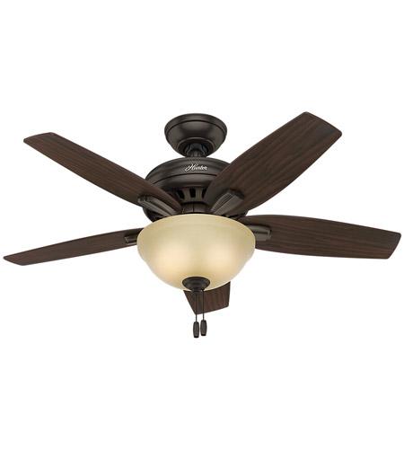Hunter Fan 51087 Newsome 42 inch Premier Bronze with Roasted Walnut/Yellow Walnut Blades Indoor ...