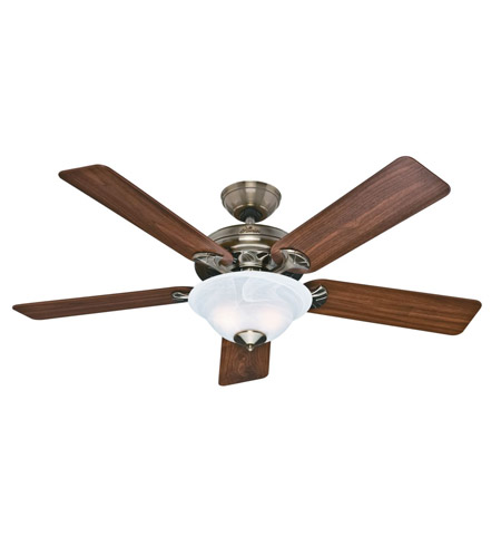 Hunter Fan 53110 The Brookline 52 inch Antique Brass with Walnut/Medium Oak Blades Indoor Ceiling Fan photo