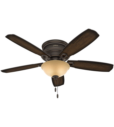 Hunter Fan 53355 Ambrose 52 inch Onyx Bengal with Burnished Aged Maple/Aged Maple Blades Ceiling Fan, Low Profile photo thumbnail