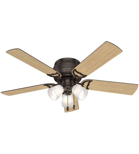 Hunter Fan 53386 Prim 52 inch Premier Bronze with Drifted Oak/Dark Walnut Blades Ceiling Fan, Low Profile photo