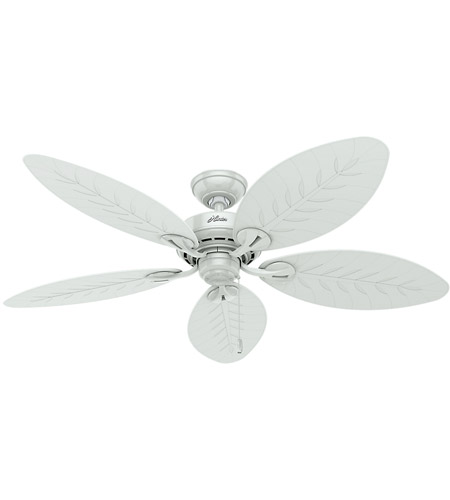 Hunter Fan 54097 Bayview 54 Inch White With White Wicker White Palm Leaf Blades Outdoor Ceiling Fan