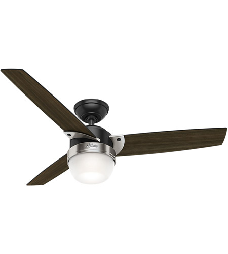 Hunter Fan 59228 Flare 48 inch Matte Black with Dark Walnut Blades Ceiling Fan photo thumbnail