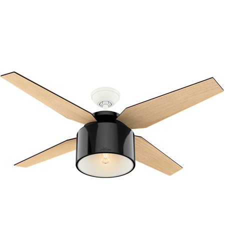 Hunter Fan 59257 Cranbrook 52 inch Gloss Black with Blonde Oak/Mid Century Walnut Blades Ceiling Fan photo thumbnail
