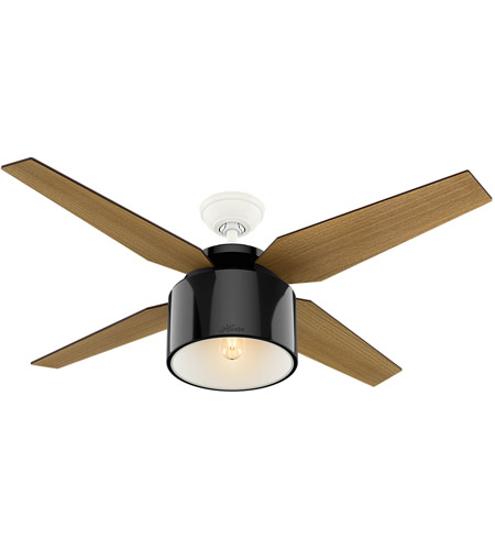 Hunter Fan 59257 Cranbrook 52 inch Gloss Black with Blonde Oak/Mid Century Walnut Blades Ceiling Fan alternative photo thumbnail